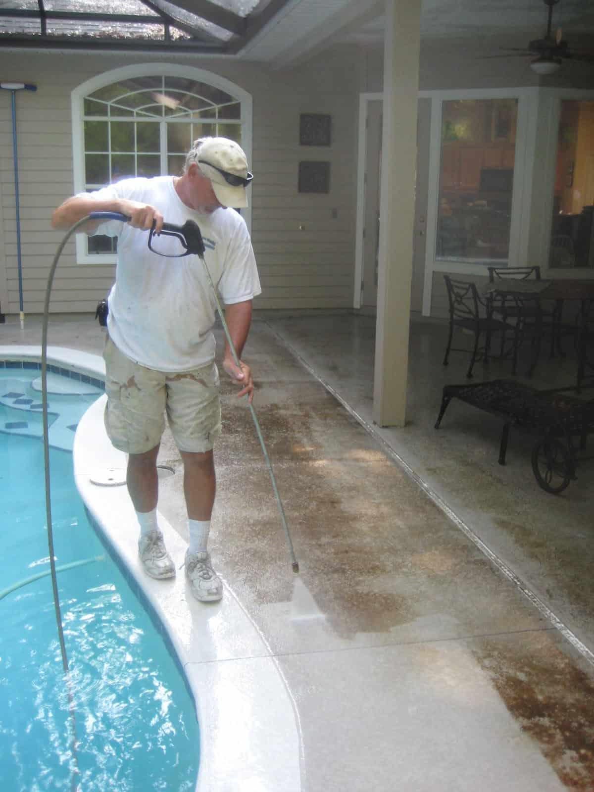 Pressure Washing Pool Deck