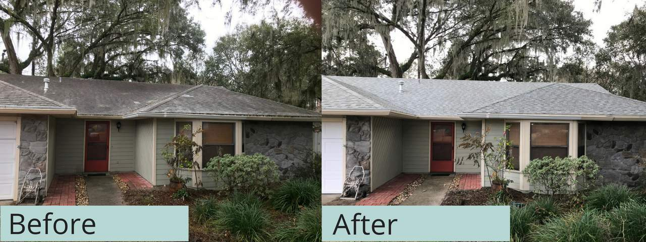 before and after gainesville pressure washing house