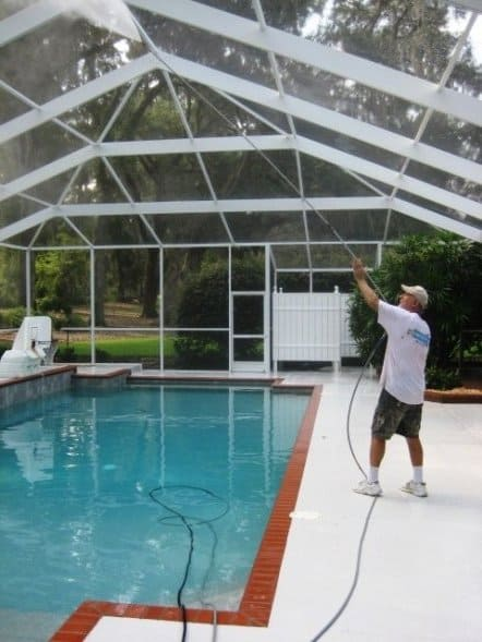 Pressure washing Pool Enclosure