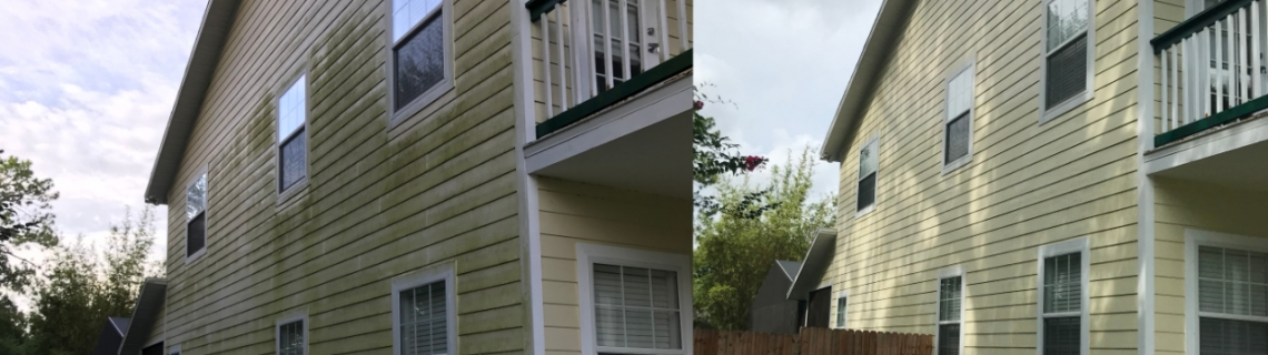 pressure washing two story house before and after